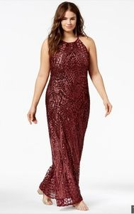 Plus size 14 16 24 26 burgundy sequin prom gown